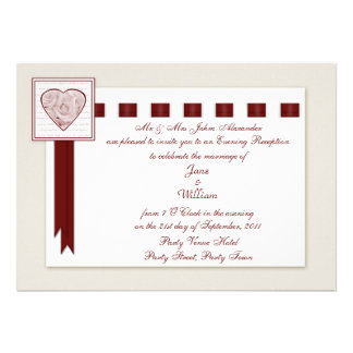 Evening Reception Love Heart and Roses with Ribbon Custom Invitation