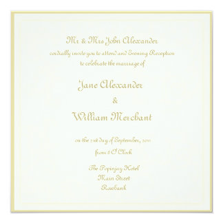 Evening Reception Wedding Invitaion - Ivory Swirl 13 Cm X 13 Cm Square Invitation Card