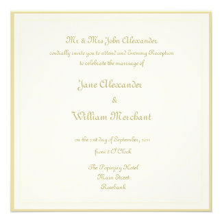 Evening Reception Wedding Invitaion - Ivory Swirl Personalized Announcements