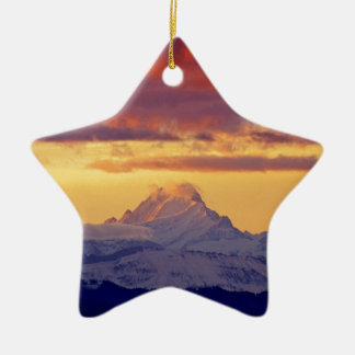 Evening-red in Bernese the alps CH-Switzerland Ceramic Star Decoration