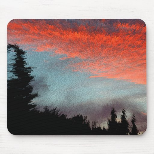 Evening-red, sunset, tendency, clouds, forest, mouse pads