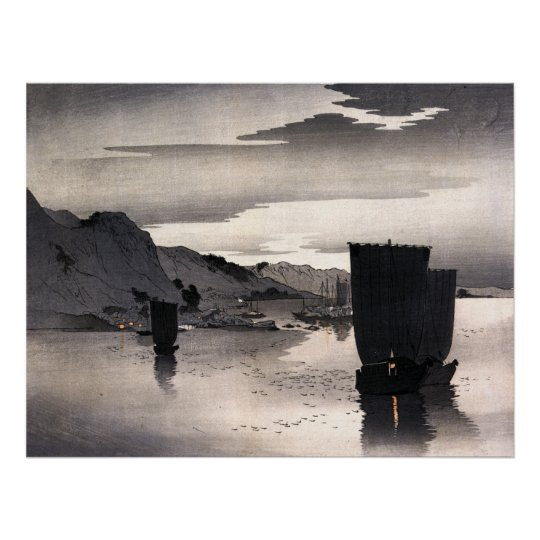 Evening sailboats, Ohara Koson Poster