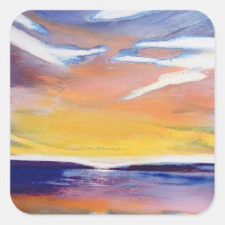 Evening seascape square sticker