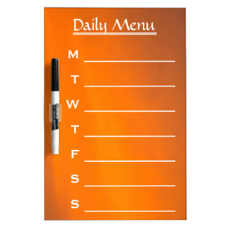 Evening Sky Orange Color Daily Menu Weekly Menu Dry Erase Board
