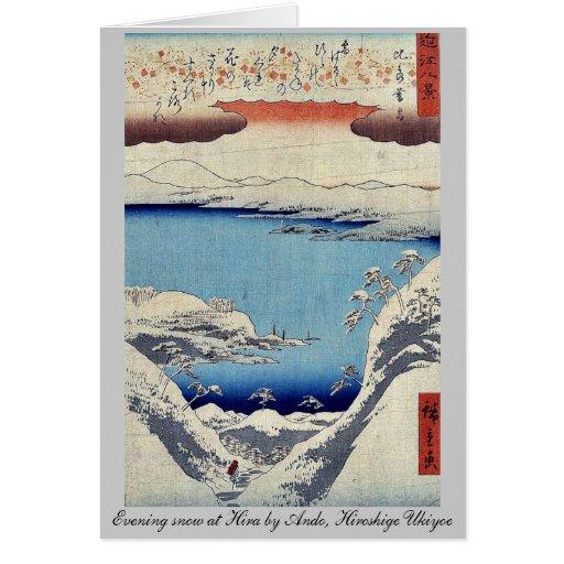 Evening snow at Hira by Ando, Hiroshige Ukiyoe Greeting Cards