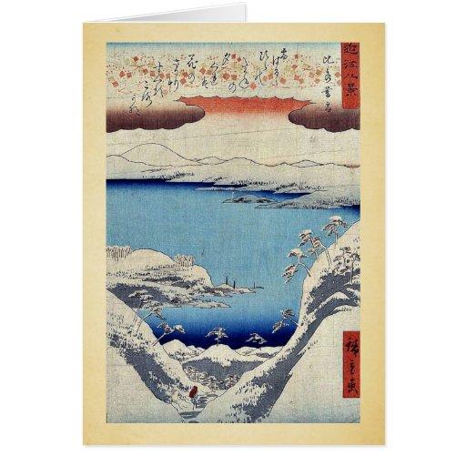 Evening snow at Hira by Ando, Hiroshige Ukiyoe Greeting Card