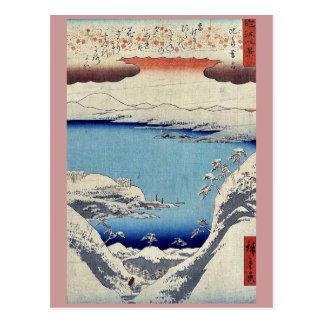 Evening snow at Hira by Ando, Hiroshige Ukiyoe Post Card