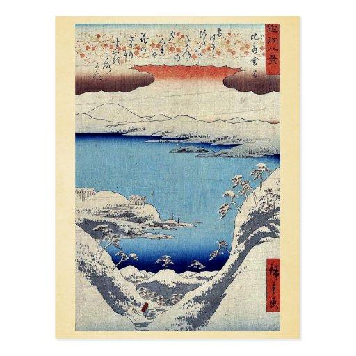 Evening snow at Hira by Ando, Hiroshige Ukiyoe Postcard