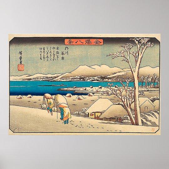 Evening Snow at Uchikawa-Utagawa Hiroshige Poster