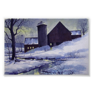 Evening Snow Barn- poster