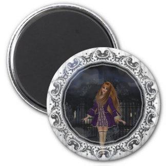 Evening Stroll Gothic Fantasy Redhead Girl 6 Cm Round Magnet