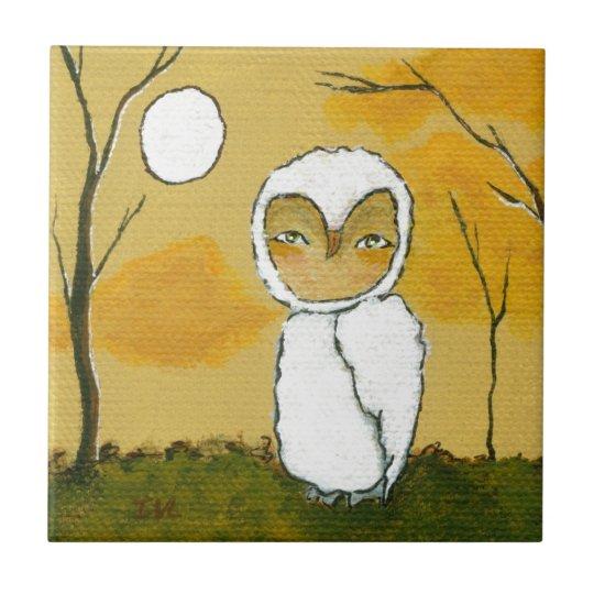 Evening Stroll, Whimsical Woodland White Owl Art Tile