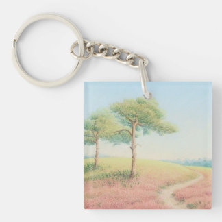 Evening Sun New Forest Pine Trees Acrylic Key Ring