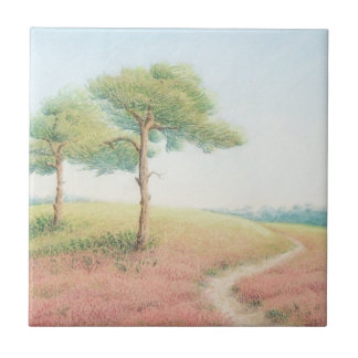 Evening Sun, New Forest Pine Trees Ceramic Tile
