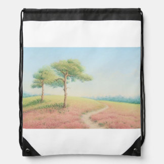 Evening Sun, New Forest Pine Trees Drawstring Bag