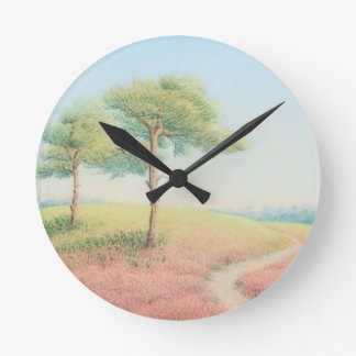 Evening Sun, New Forest Pine Trees Wall Clock