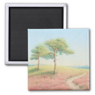 Evening Sun, New Forest Pines in Pastel Square Magnet