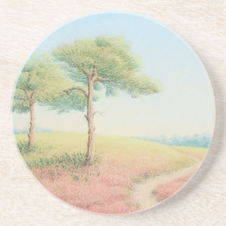 Evening Sun, New Forest Pines Sandstone Coaster