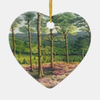 Evening Sun, Surrey Hills Pines in Pastel Ceramic Heart Decoration