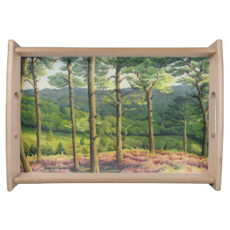 Evening Sun, Surrey Hills Pines in Pastel Serving Tray