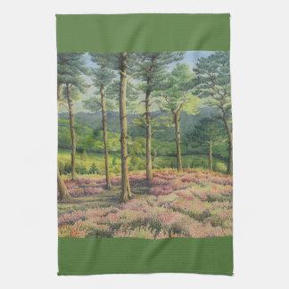 Evening Sun, Surrey Hills Pines in Pastel Tea Towel