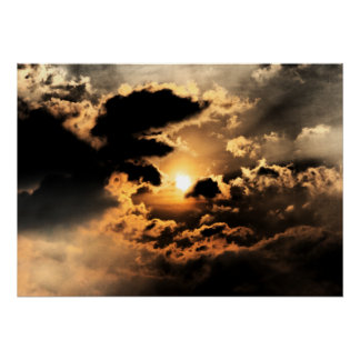 Evening Sun With Cloudy Sky Posters