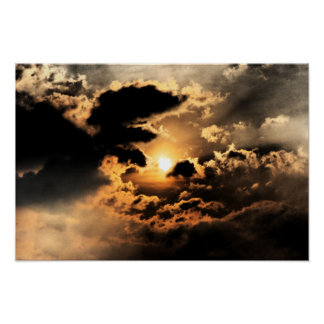 Evening Sun With Cloudy Sky Poster