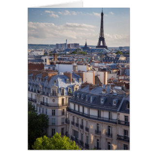 Evening sunlight over the buildings of Paris Card