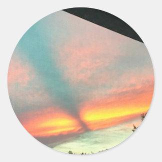 Evening Sunset Sky Pink Blue Yellow Orange Sticker