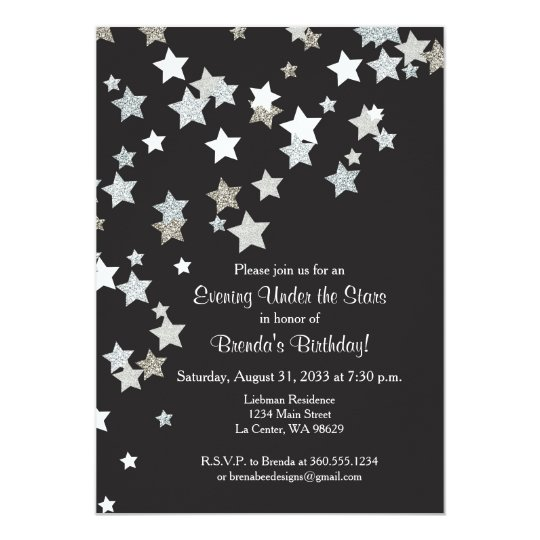 Evening Under the Stars with Silver Glitter Card