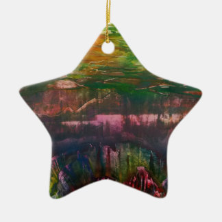 Evening unfurls over landscape christmas ornament