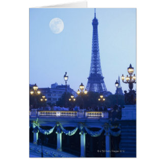 Evening view of Eiffel Tower at moonrise Card