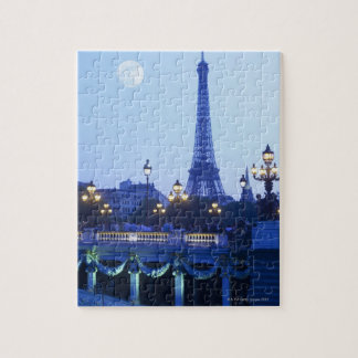 Evening view of Eiffel Tower at moonrise Jigsaw Puzzle