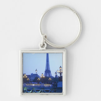 Evening view of Eiffel Tower at moonrise Key Ring