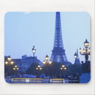 Evening view of Eiffel Tower at moonrise Mouse Pad