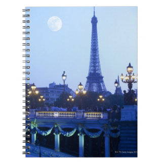Evening view of Eiffel Tower at moonrise Spiral Notebook