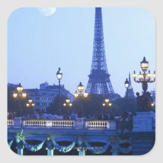 Evening view of Eiffel Tower at moonrise Square Sticker