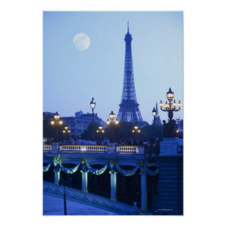 Evening View of Eiffel Tower Poster