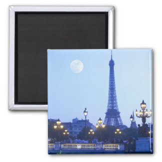 Evening View of Eiffel Tower Square Magnet