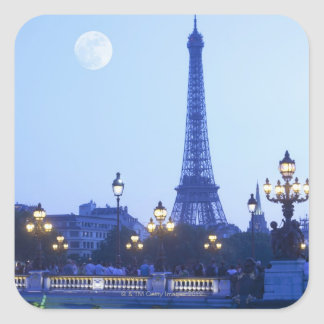 Evening View of Eiffel Tower Square Sticker
