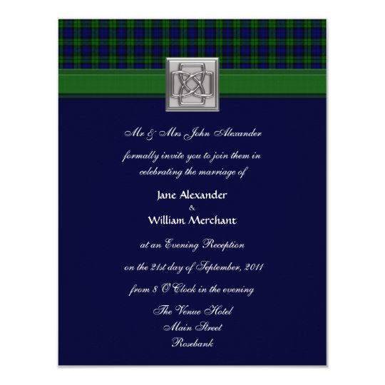 Evening Wedding Invitation Black Watch Tartan