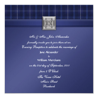 Evening Wedding Invitation Blue Patriot Tartan