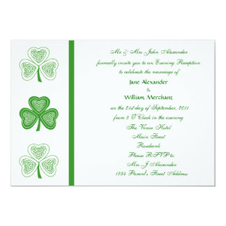 Evening Wedding Invitation Celtic Shamrock