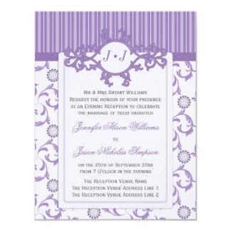 "Evening Wedding Invitation in Lavender Pattern 4.25"" X 5.5"" Invitation Card"