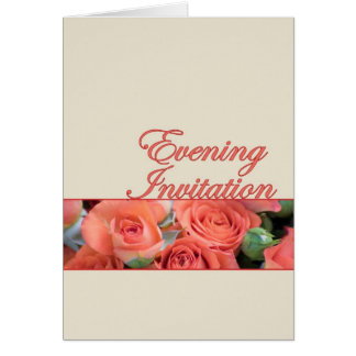 Evening Wedding Invitation Peach And Cream With Ro Greeting Card