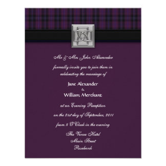 Evening Wedding Invitation Purple Scottish Tartan