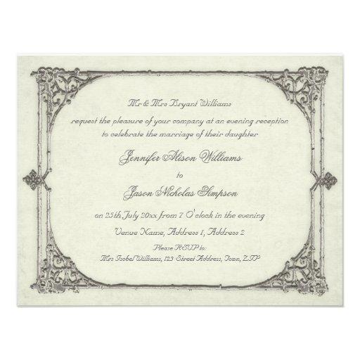 Evening Wedding Invitation Vintage / Antique Frame