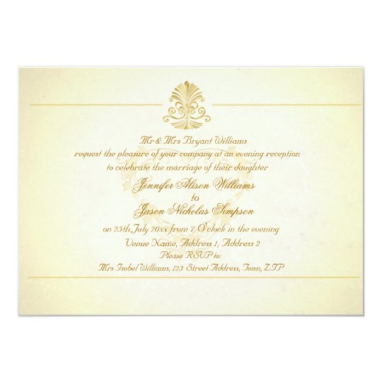 Evening Wedding Invitation Vintage Parchment Paper