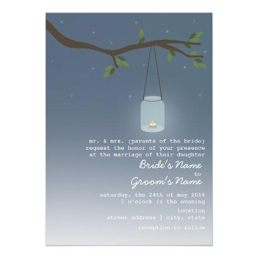 Evening Wedding - Mason Jar With Candle Personalized Invitation
