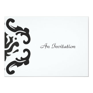 Evening Wedding Reception Black & White Damask 13 Cm X 18 Cm Invitation Card